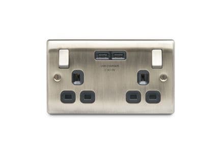 BG 13a 2 Gang Switch Socket & USB - Antique Brass With Black Inserts